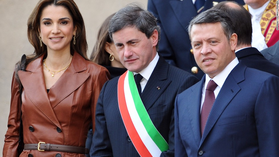 Queen Rania of Jordan is considered one of the most fashionable royals in the world. She often wears one-of-a-kind designs by the world's most exclusive couturiers, and was included in the Vanity Fair list of top 10 best-dressed first ladies. Here she is pictured with the former mayor of Rome Gianni  Alemanno and her husband King Abdullah II.
