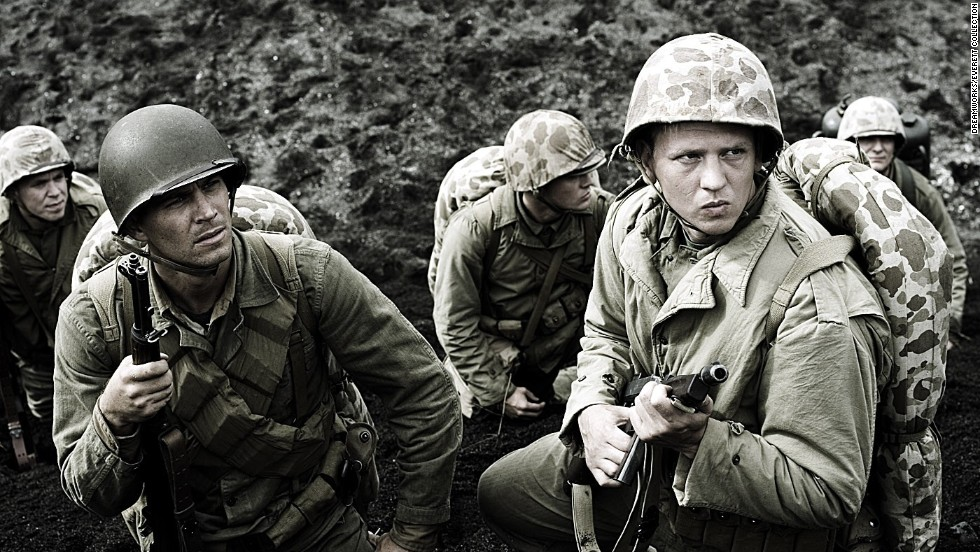 "Walker, left, and Barry Pepper were U.S. Marines in the 2006 drama ""Flags of Our Fathers."""