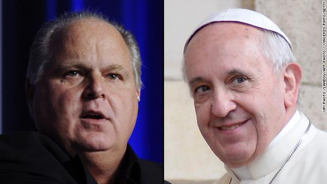 "Talk show radio host Rush Limbaugh, left, condemns Pope Francis' proclamation of the Catholic gospel as ""pure Marxism."""