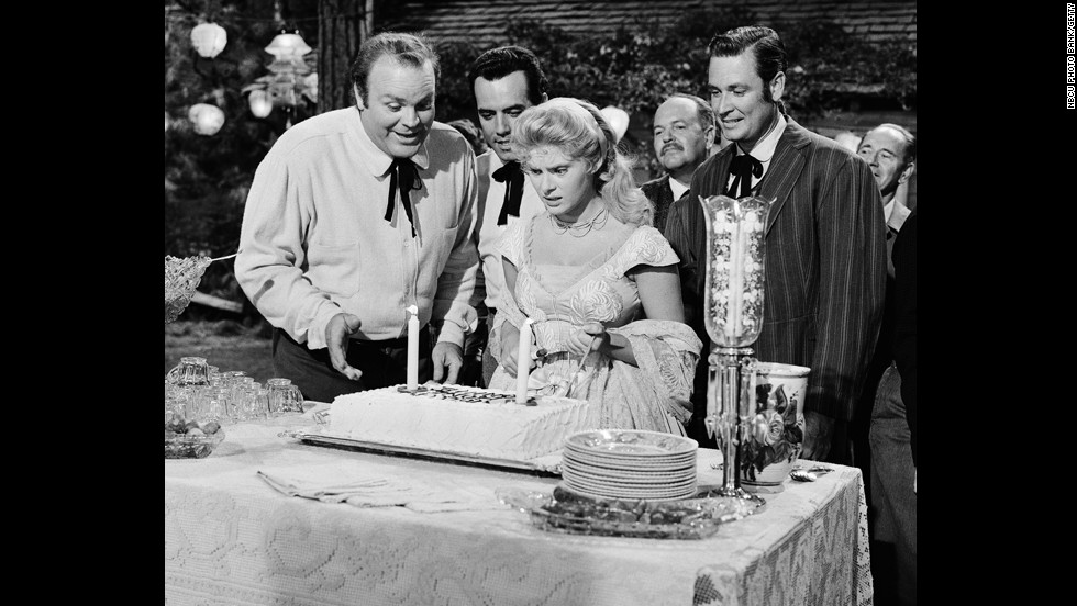 "Barker, right, appears on a 1960 episode of ""Bonanza"" along with actors Dan Blocker, Pernell Roberts and Natalie Trundy."