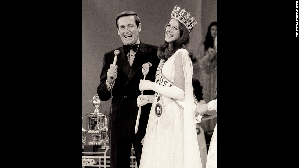 Barker and Miss Illinois Amanda Jones are seen after Jones won the 1973 Miss USA Pageant. Barker hosted the Miss USA and Miss Universe pageants from 1966-1987. He resigned after pageant officials refused to stop giving fur coats as awards.