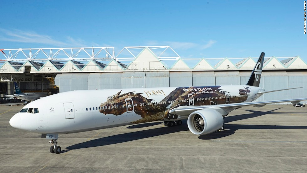 "In honor of the new film, ""The Hobbit: The Desolation of Smaug,"" Air New Zealand has unveiled a new Hobbit-themed livery on one of its Boeing 777-300s, with Smaug himself stretched out along the plane."