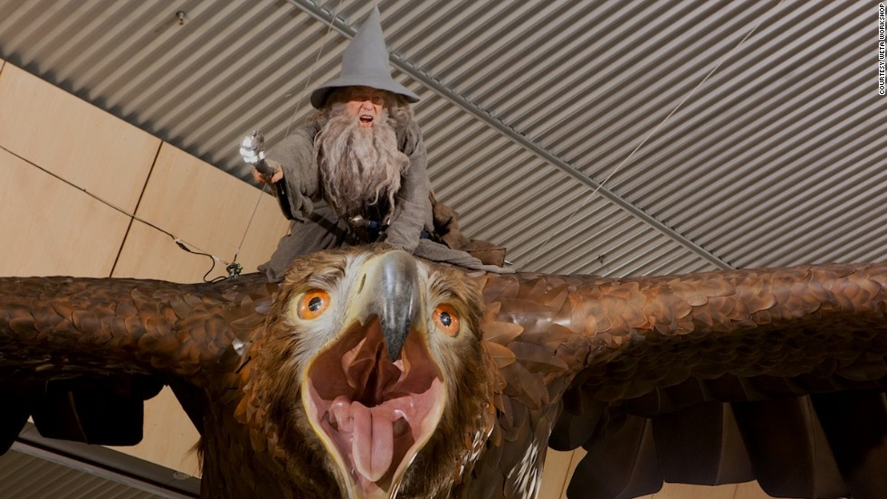 "Wellington International Airport's new installation features two realistic ""great eagles"" from ""The Hobbit: The Desolation of Smaug."" The sculptures were created by Wellington's Weta Workshop -- the same team that built props and designed physical effects for ""The Hobbit"" and ""The Lord of the Rings"" trilogies."