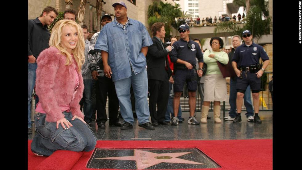 Spears receives a star on the Hollywood Walk of Fame in 2003.