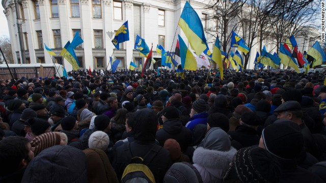 Protesters gather in front of the Parliament in Kiev on December 3.