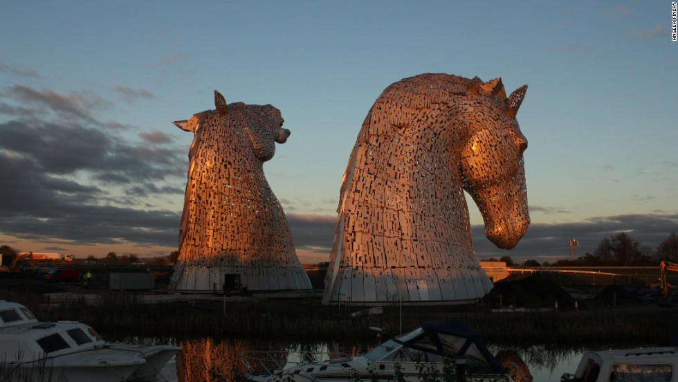"""The Kelpies"" -- the world's largest pair of equine sculptures, standing at 30 meters tall -- sit proudly in Scotland's Forth Valley, marking the culmination of a project that started nearly eight years ago."