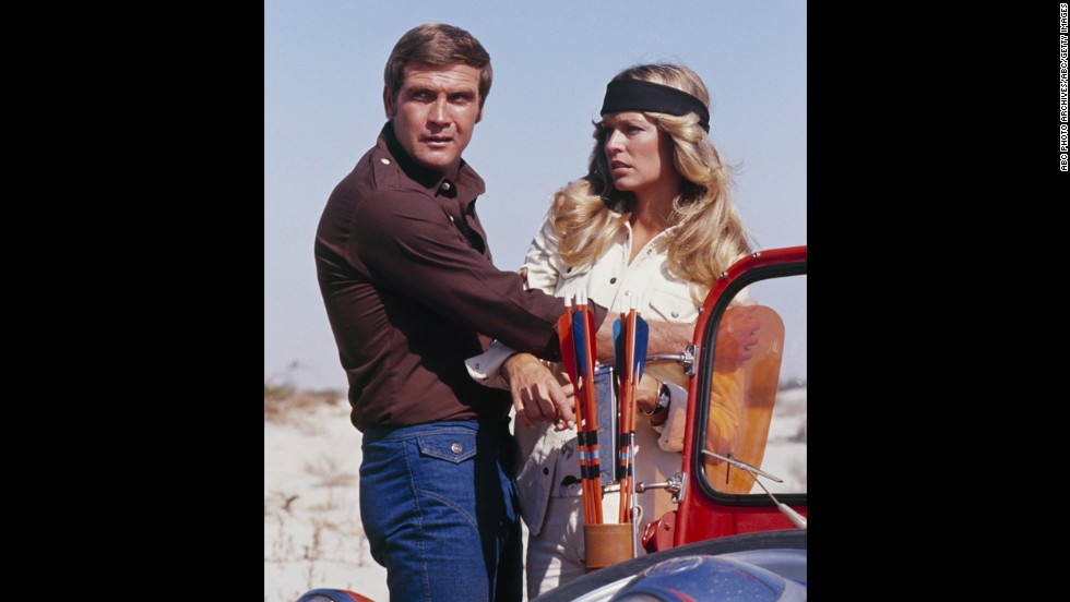 "Fawcett appears with Majors in the television show ""The Six Million Dollar Man"" in December 1974."