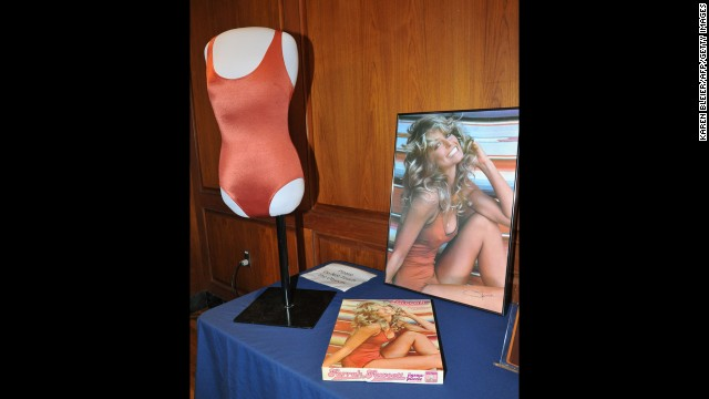 Farrah Fawcett posed in this red Speedo for a poster in 1976 that sold 12 million copies.