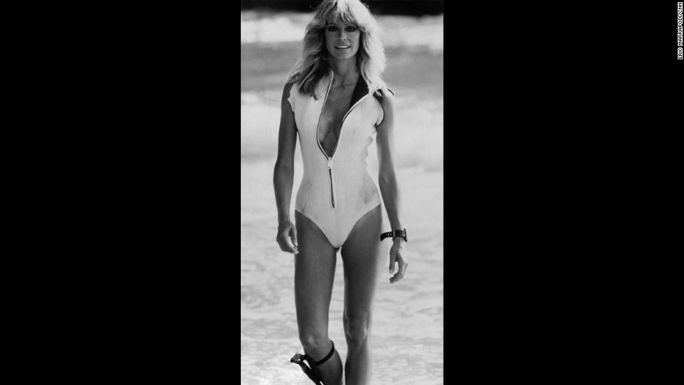 "Fawcett is seen in Acapulco, Mexico, where she was shooting the movie ""Sunburn"" in 1978."