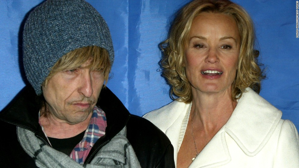 "Dylan appears with actress Jessica Lange during a news conference for the movie ""Masked and Anonymous"" in 2003. Dylan co-wrote the movie and starred in it."
