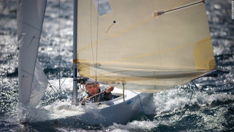 Competitor Biljard Guus focuses on the waves ahead during the 2.4-meter fleet racing in the World Paralympic Sailing Championships at Kinsale, Ireland.