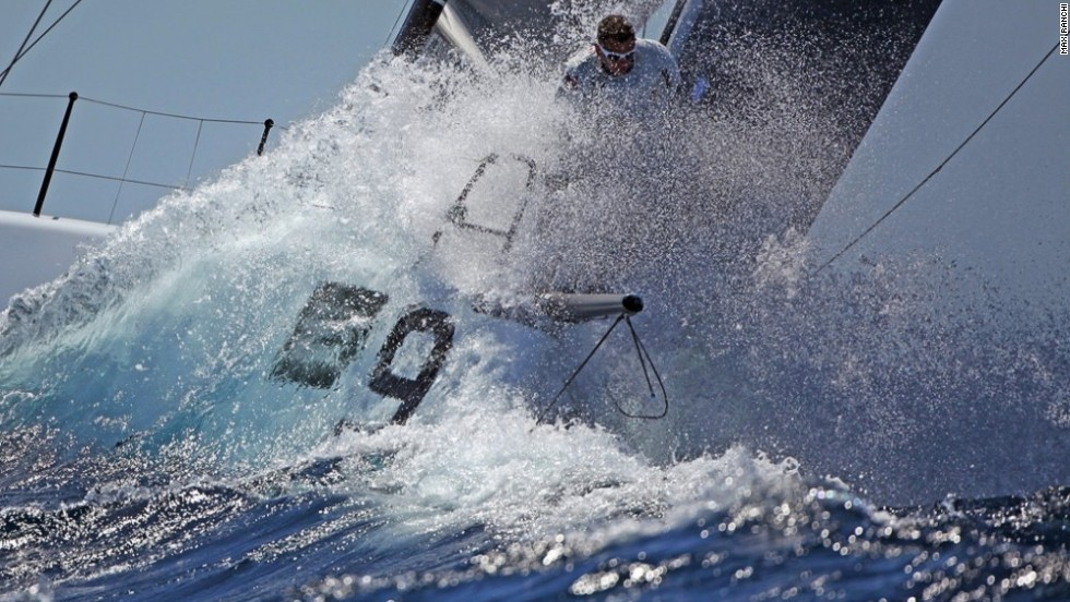 """Photographer Max Ranchi captures one of the competitors in May's Trofeo Conde de Godo race near Barcelona, as he explains in his own words, """"coming out of the weather mark, bearing away and ready to set gennaker."""""""