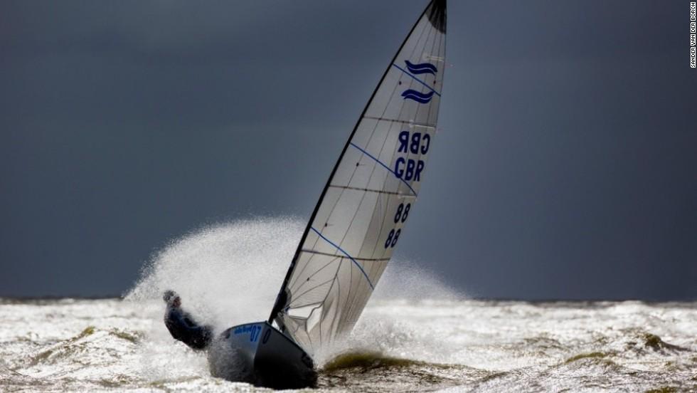British sailor Mark Andrews powers upwind in the Finn class of May's Delta Lloyd Regatta at Medemblik. Andrews beat Dutch favorite Pieter-Jan Postma following a thrilling medal race.