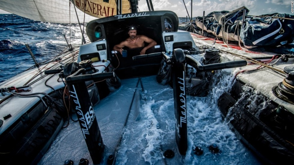 In total, 82 photographers from 19 different countries entered, including American Jen Edney -- who here snaps Michele Sighel as he checks his crew on their passage from Honolulu to the Philippines.