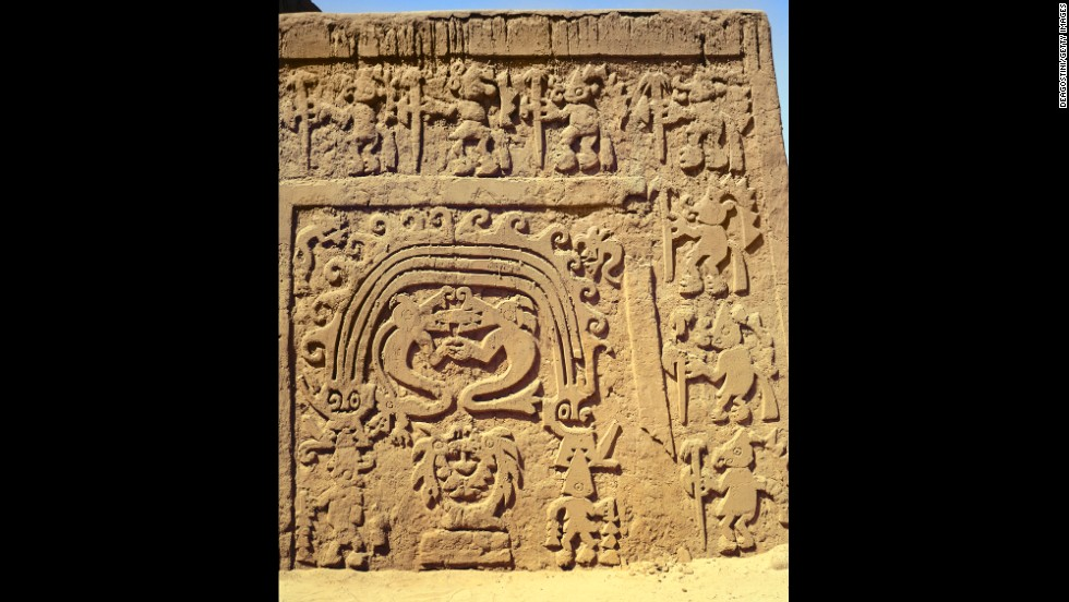 A detail of a low relief on the Temple of La Huaca del Dragon in Chan Chan is seen here.