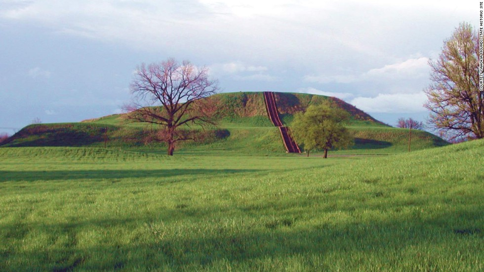 Monks Mound is seen here at Cahokia Mounds State Historic Site.