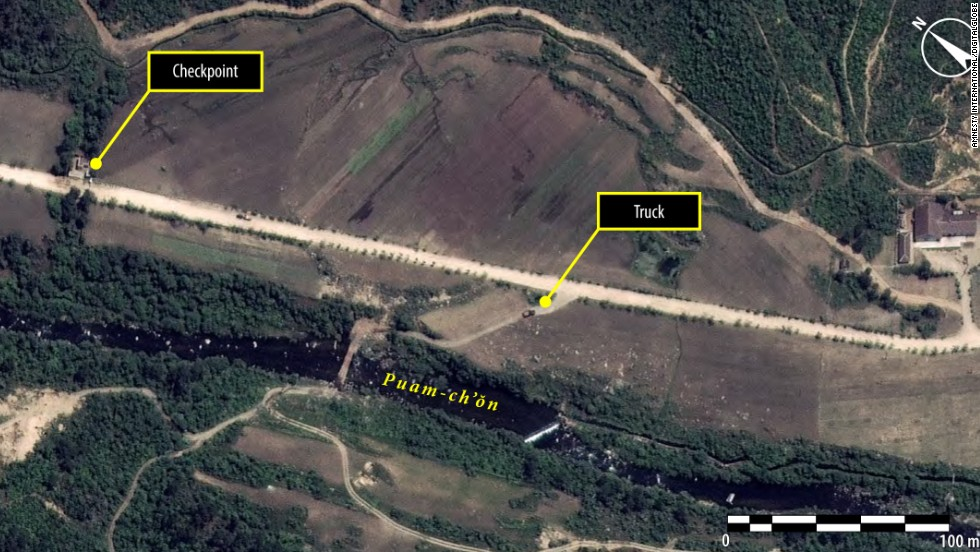 A satellite image shows a checkpoint on the main road. Amnesty International said these images indicate that repression by the North Korean authorities has continued in spite of growing calls for the country to close its political prison camps.