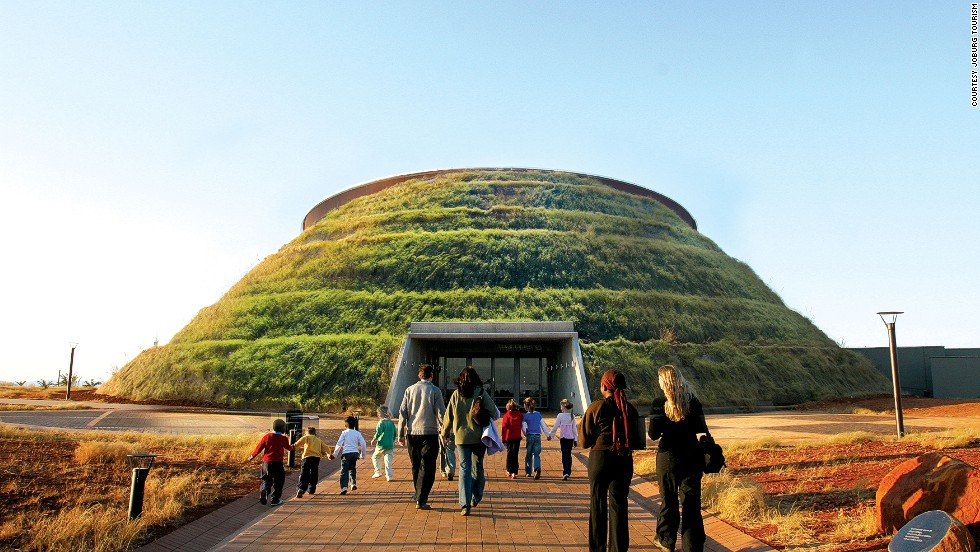 The unusual Maropeng building, housed in a giant grassy mound, has displays showing humankind's journey through time.