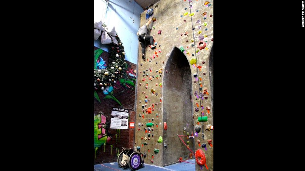 One of Vayner's favorite activities is rock climbing. She and Evelyn started with the NYC Adaptive Climbing group and were eventually climbing three times a week.