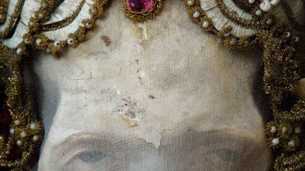 <em>For the relic of St. Deodatus in Rheinau, Switzerland,artisans molded a wax face over the upper half of the skull and used a fabric wrap to create a mouth</em><br /><br /><strong>CNN:</strong> <strong>Does the skeletal aesthetic still influence designers and artists today?</strong><br /><br /><strong>PK: </strong>There are definitely examples of similar types of things in the modern world, especially in the work of an artist like Damien Hirst, and the look seems to have filtered into popular culture in a kind of Pirates of the Caribbean aesthetic. But these skeletons so fell out of history, pretty much being known about only locally if at all, that it's hard to say if there is any direct line of descent between them and the cognates one might find in the modern world.