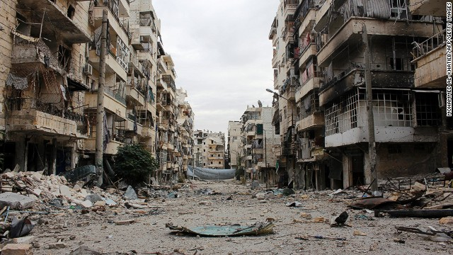 A picture taken on December 1, 2013, shows damaged buildings in the Salah al-Din neighbourhood of the northern Syrian city of Aleppo.