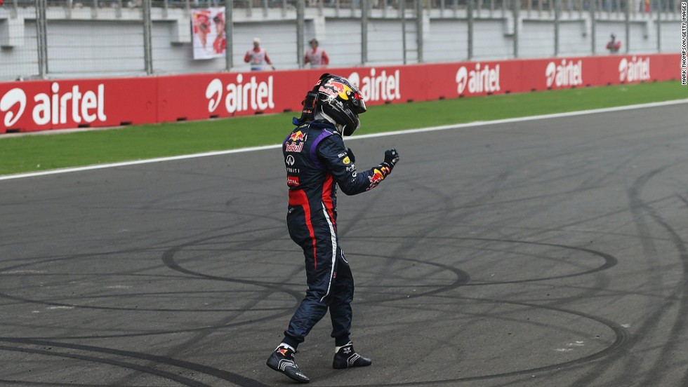 There were solo celebrations for Vettel at the 2013 Indian Grand Prix as another victory clinched his fourth straight world title with the supreme Red Bull team. The 26-year-old is tipped to one day surpass Schumacher as the sport's most decorated driver.