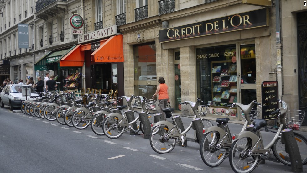 "The French capital's bike sharing program averages 6.7 trips per bike per day and 38.4 trips per 1,000 residents. Tourists are welcome to borrow bikes and can sign up online at <a href=""http://en.velib.paris.fr/"" target=""_blank"">En.velib.paris.fr</a>."