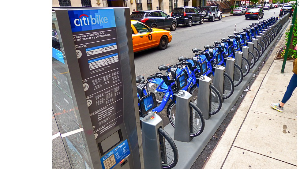 "<a href=""http://citibikenyc.com/"" target=""_blank"">NYC's CitiBike system</a> averages 8.3 trips per bike each day and sees 42.7 trips per 1,000 residents on average. Tourists are free to use it."