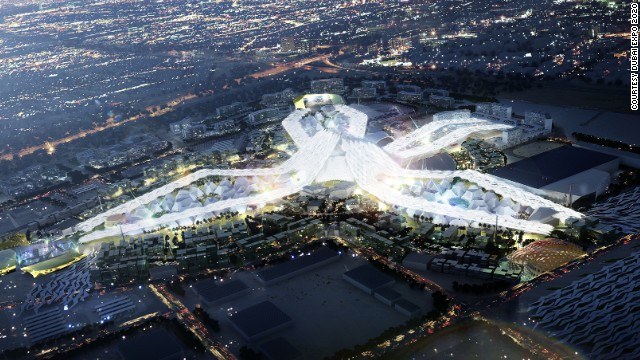 Artist's impression of Expo site at night