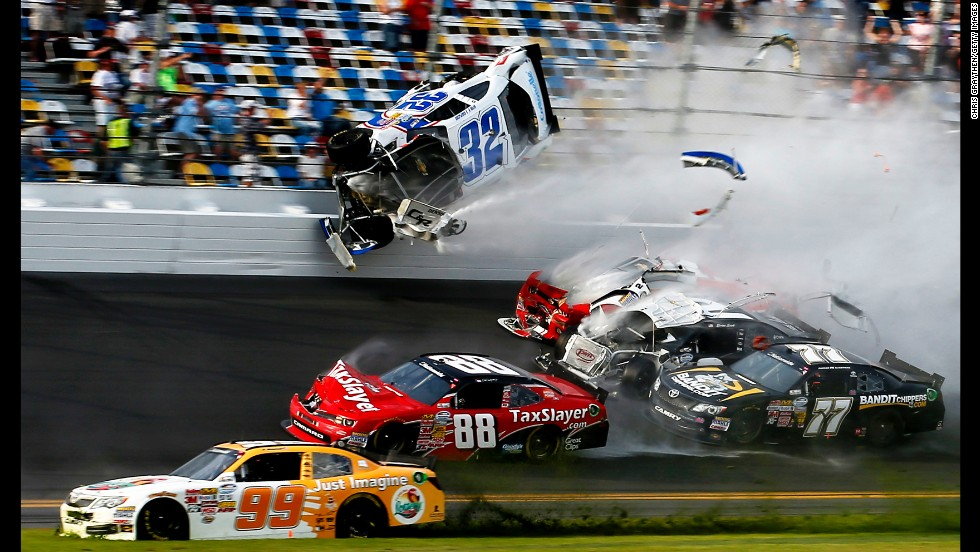 Kyle Larson, driver of the No. 32 Clorox Chevrolet, is involved in a crash at the finish of the NASCAR Nationwide Series DRIVE4COPD 300 on February 23 at the Daytona International Speedway in Daytona Beach, Florida. Several spectators were injured in the crash. Larson walked away from the crash, and he and the other nine drivers involved told reporters that they were checked at a medical tent and released.