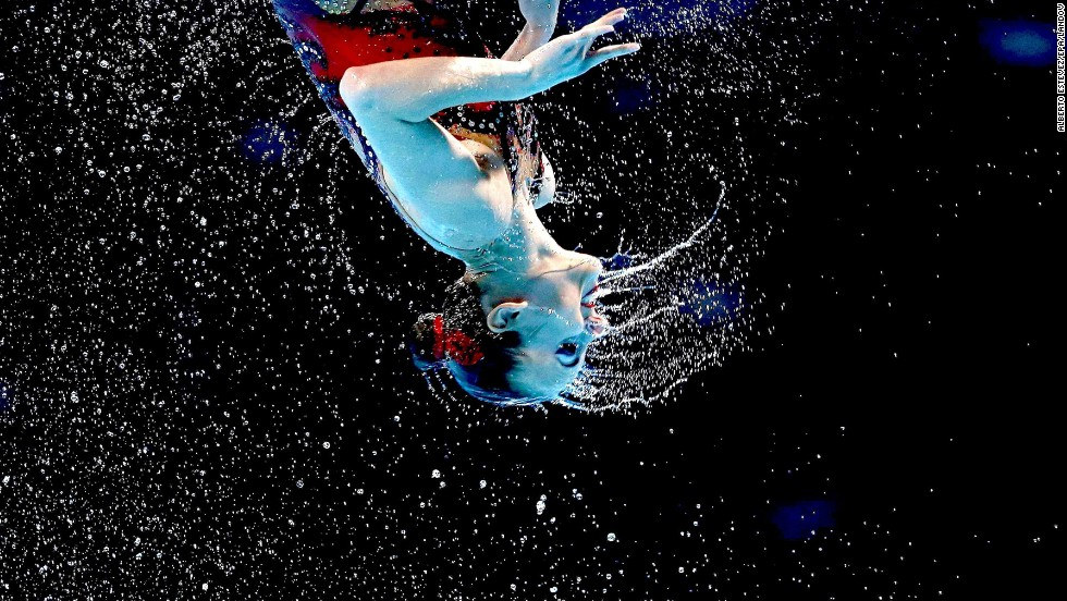 Russia competes in the synchronized swimming free combination preliminary round as part of the 15th FINA World Championships on July 21 in Barcelona, Spain.