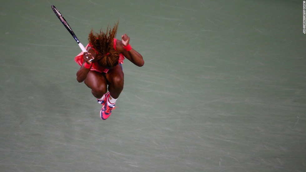 Serena Williams of the United States celebrates winning her women's singles final match against Victoria Azarenka of Belarus in New York on September 8, Day 14 of the 2013 U.S. Open, earning her 17th Grand Slam title.