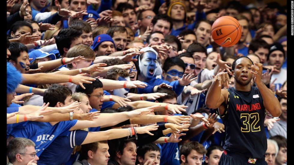 Dez Wells of the Maryland Terrapins looks to throw the ball inbounds during a game against the Duke Blue Devils in Durham, North Carolina, on January 26. Duke won 84-64.