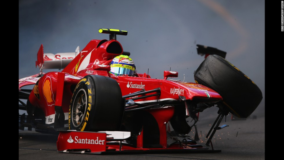 Brazilian Formula One driver Felipe Massa of Scuderia Ferrari crashes at St. Devote during the final practice session before qualifying for the Monaco Formula One Grand Prix at the Circuit de Monaco in Monte-Carlo on May 25.