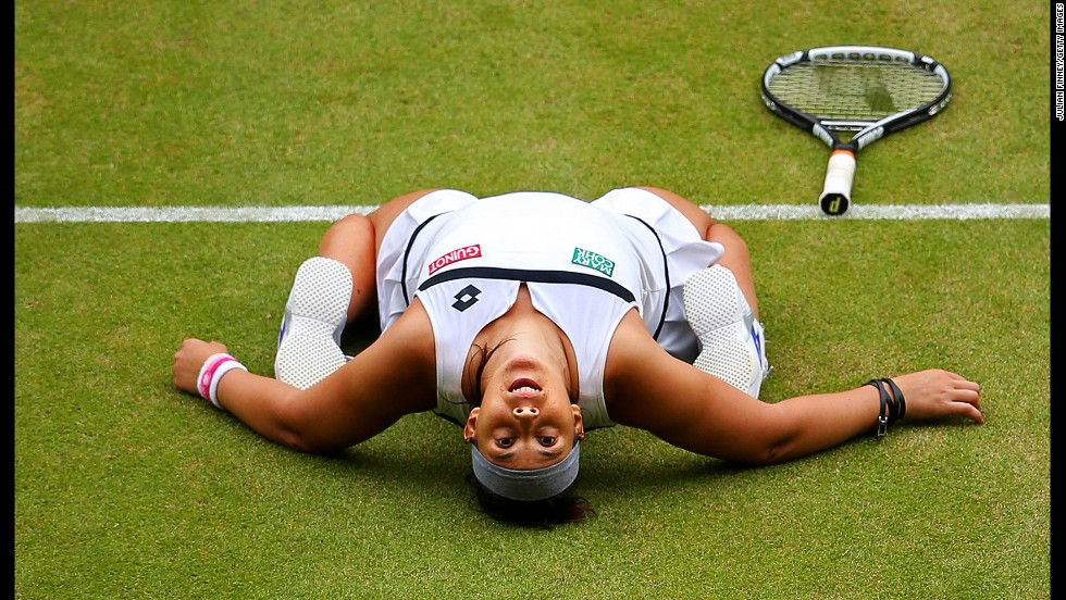 Marion Bartoli of France celebrates winning the ladies singles semifinal match against Kirsten Flipkens of Belgium on Day 10 of the Wimbledon Lawn Tennis Championships on July 4 in London.
