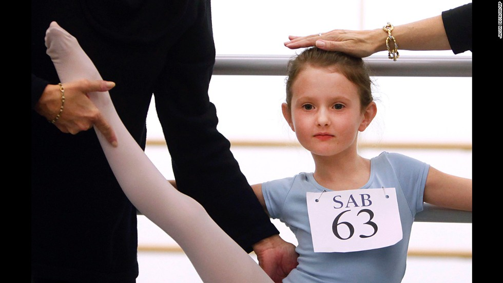 <strong>April 5:</strong> Natacha Ross is evaluated during an audition for 6-year old ballet hopefuls at the School of American Ballet in New York.