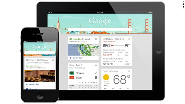 Google Now is a personal assistant which delivers information it predicts you will want, based on what it knows about you from your search history.