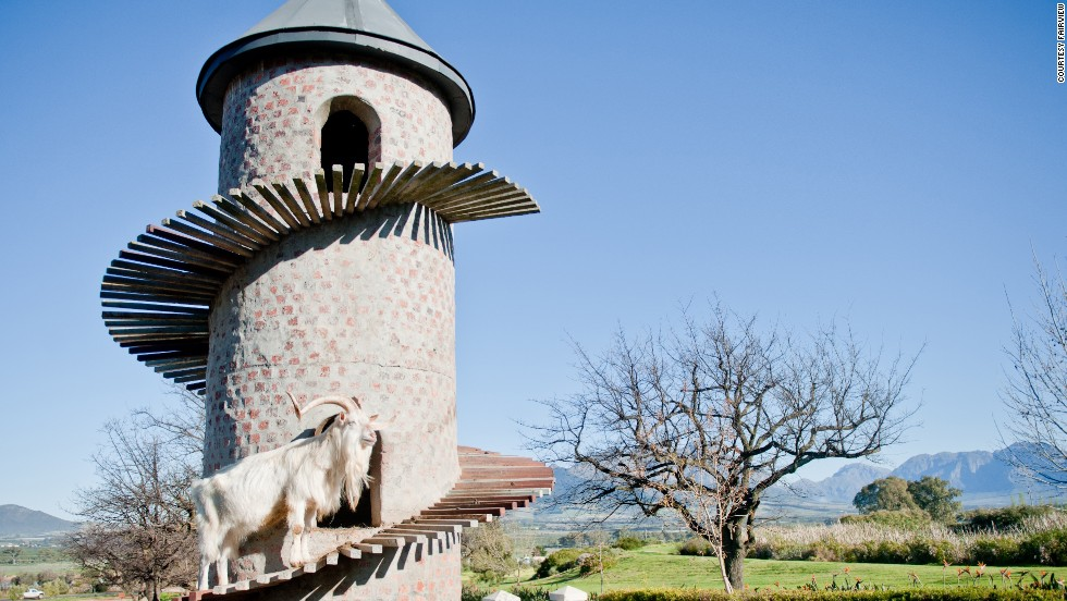 The farm's Goats do Roam wine collection (a take on Côtes du Rhône) is inspired by the farm's goat tower, home of Fairview's most recognizable team members. More than 1,000 goats (not all living in the tower) provide milk for the Vineyard Cheesery every day.
