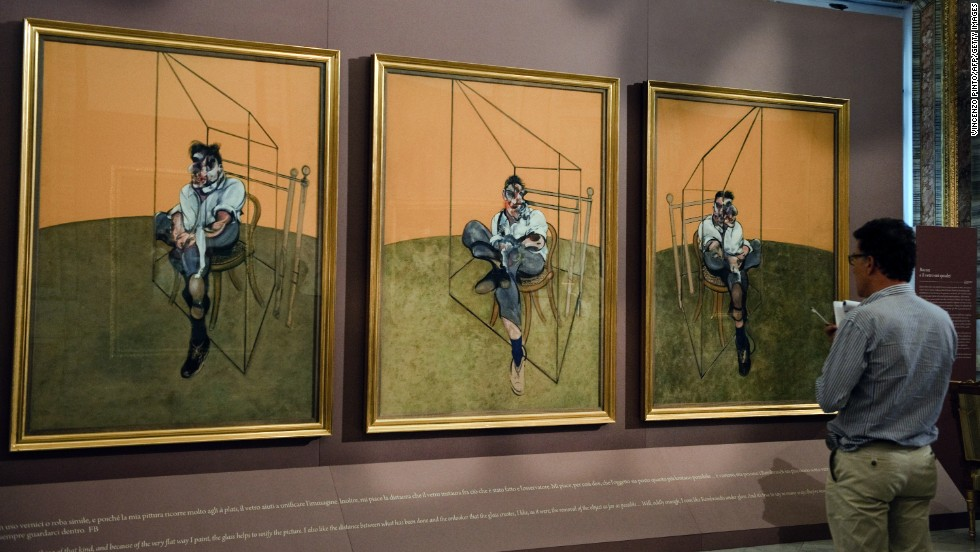 """Three Studies of Lucian Freud,"" a 1969 painting by Francis Bacon, sold for $142.4 million in November 2013, <a href=""http://www.cnn.com/2013/11/12/us/francis-bacon-painting-art-auction/index.html"">breaking the record</a> for the most expensive piece of art ever auctioned."