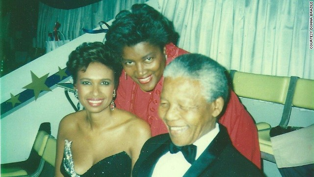 Donna Brazile with freedom fighter and leader Nelson Mandela.