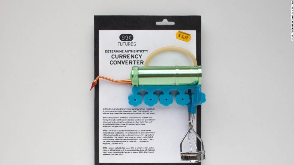"""The Currency Converter emerged from two think tanks reports -- one predicting a world shortage of cocoa, and the other pointing to a rise in new currencies. """"On the street, it's hard to tell if that currency is truly valuable, be it cocoa, or weight reduction surgery coin. This converter can help you accept only the most authentic currency."""""""