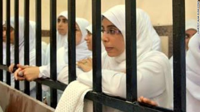 Ola Ezzat, daughter of Alaa Eldin Ezzat, in an Egyptian courtroom.