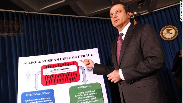 Preet Bharara, U.S. Attorney for the Southern District of New York, discusses the charges at a news conference.
