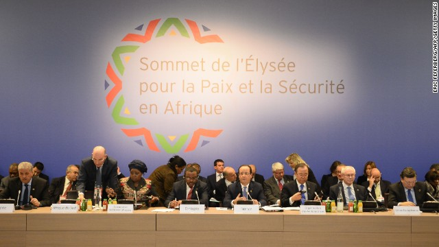 Algeria Prime minister Abdelmalek Sellal (2ndL), African Union chairperson Nkosazana Dlamini-Zuma (4thL), Ethiopia's Prime minister Hailemariam Desalegn (5thL), France's President Francois Hollande (C), United Nations' general secretary Ban-Ki moon (4thR), European Council Herman Van Rompuy (3rdR) and European Commission President Manuel Barroso (2ndR) attend the Elysee Summit for Peace and Security in Africa, on December 6, 2013 in Paris. Hollande on Friday told African leaders it is time for their continent to take charge of its own security as a major summit went ahead against the sombre backdrop of mourning for Nelson Mandela.