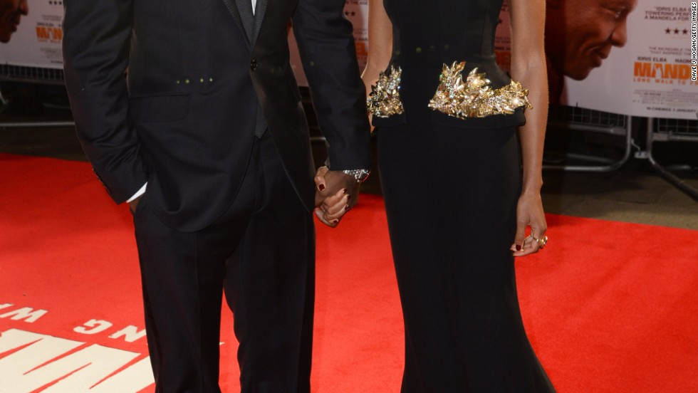 "Idris Elba and Naomie Harris put on their finest duds for the London premiere of ""Mandela: Long Walk to Freedom."""