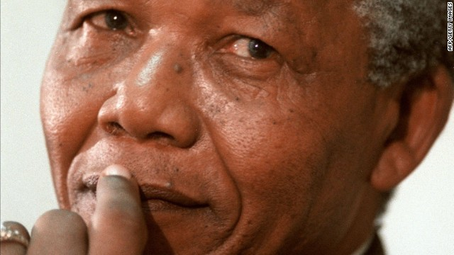 South African President Nelson Mandela in February 1991.