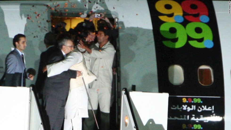 Al Megrahi gets a hug from Seif al-Islam el-Gadhafi, Moammar Gadhafi's son, after he was released from prison on August 20, 2009. Though he was given just months to live, al Megrahi died nearly three years later, on May 20, 2012.
