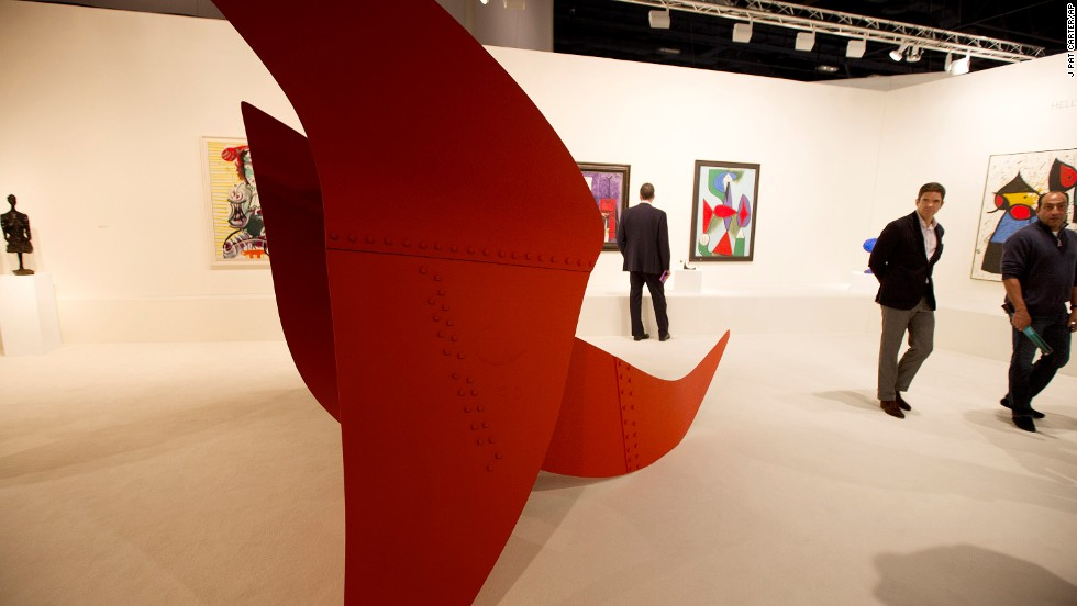 "An Alexander Calder sculpture titled ""Brontosaurus"" is displayed during the show on Wednesday, December 4."