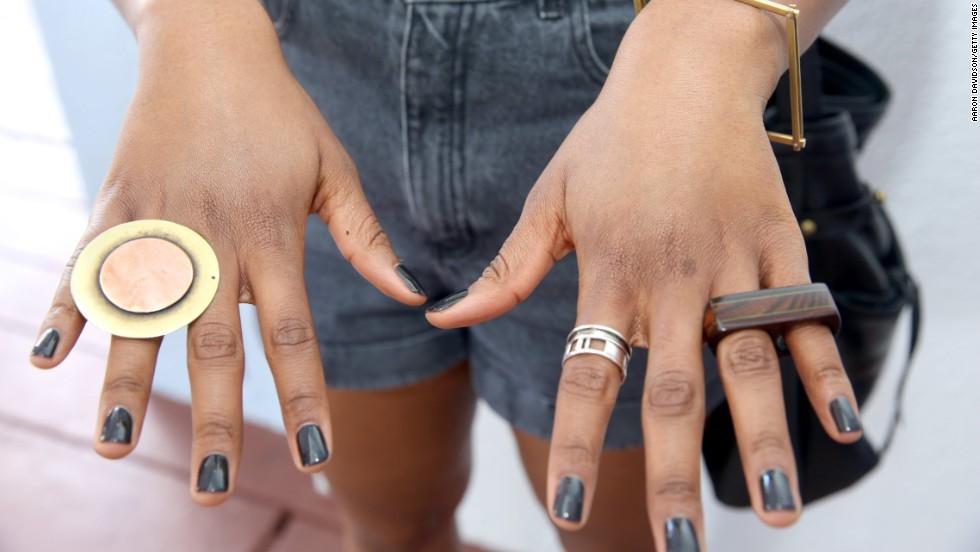 Allison Janae Hamilton wears custom rings at the Miami Beach Convention Center on December 5.