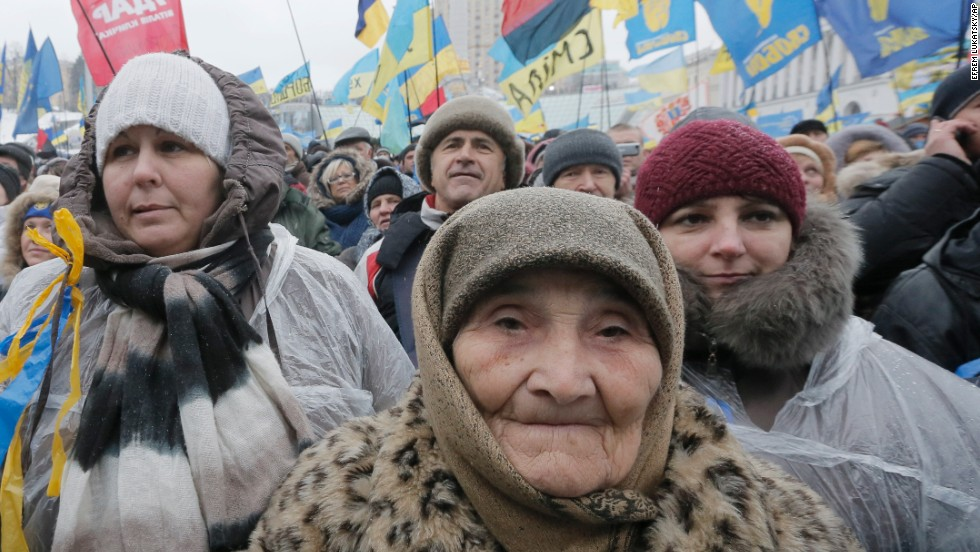 Pro-EU activists attend a rally in Independence Square on December 7.